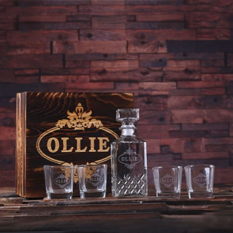 Personalized Whiskey Decanter, 4 Glasses w/ Box