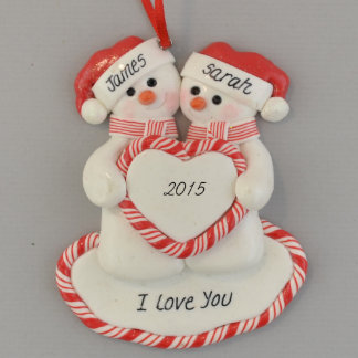 """""""I Love You"""" Snow Couple Personalized Ornament"""