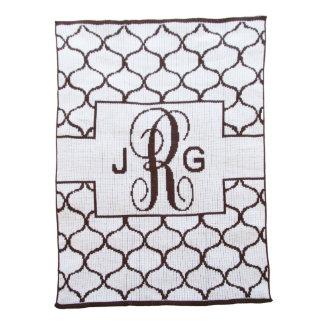 Lattice Monogrammed Off White & Chocolate Blanket