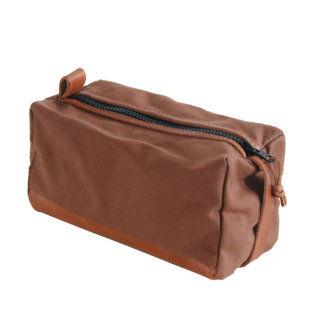 Brown Canvas and Leather Dopp Kit