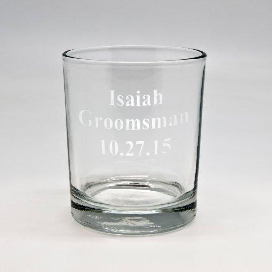 Custom Sand Etched Groomsman Rocks Glass
