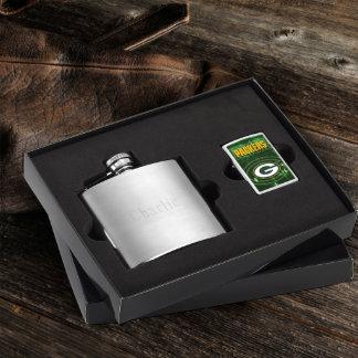 Brushed Flask & Green Bay Packer NFL Zippo Lighter