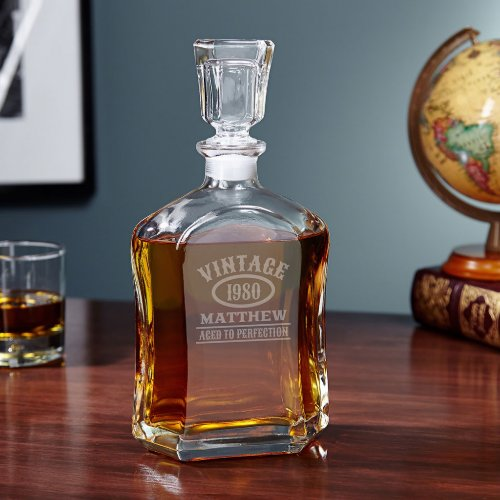 Aged to Perfection Engraved Decanter