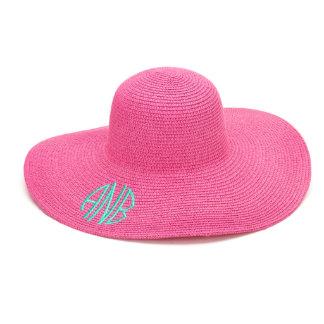 Hot Pink Floppy Beach Hat w/Aqua Blue Monogram
