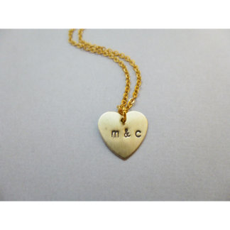 Hand Stamped Initial Heart Charm Necklace