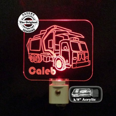 Personalized Red Garbage Truck LED Night Light