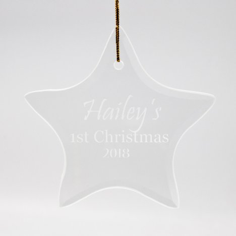 1st Christmas Sand Etched Star Glass Ornament