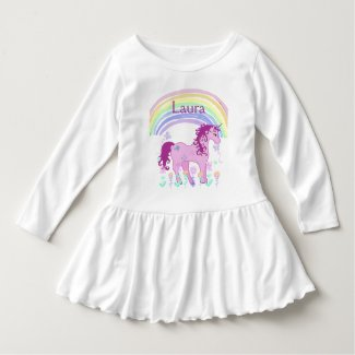 Personalized Pink Unicorn and Rainbow Shirt