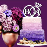 """Personalized Ring w/Initials Cake Topper<br><div class=""""desc"""">Each topper is laser cut from 1/8 inch thick acrylic,  Width: 5""""-6"""" Side to side (The exact height of this topper will depend on what width is chosen and what the last name is used.)Your cake topper will be ready in just one business day.</div>"""
