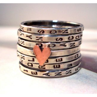 Personalized Heart Seven Ring Set Made to Order sterling silver, hand stamped, brass or copper motif