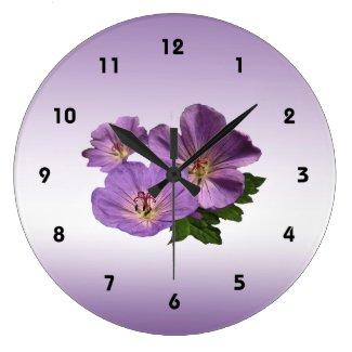 Purple Geranium Flowers Large Clock