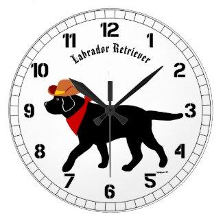 Black Labrador Cowboy Cartoon Large Clock
