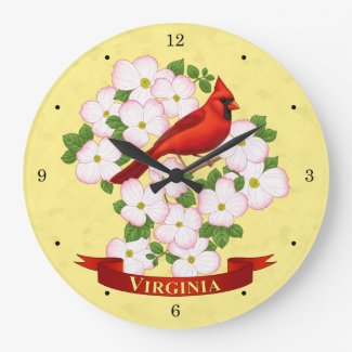 Virginia State Cardinal Bird and Dogwood Flower Large Clock