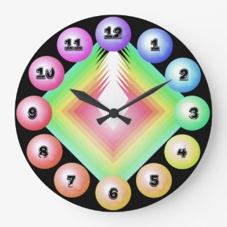 Rainbow Spectrum Bold Designer Fun Decor Large Clock