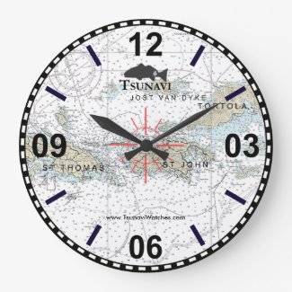 Virgin Islands Nautical Chart Clock