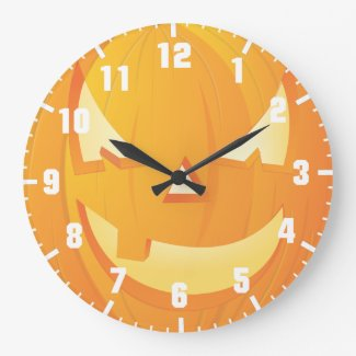 halloween pumpkin large clock