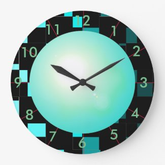 Turquoise Abstract Art Contemporary Designer Decor Large Clock