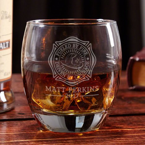Fueled by Fire Engraved Whiskey Glass