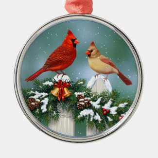 Holiday Cardinals & Christmas Garland Metal Ornament