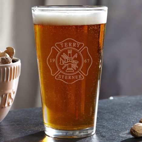 Engraved Fire and Rescue Firefighter Pint Glass