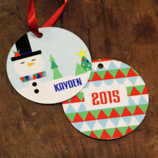 Personalized Round Holiday Snowman Ornament