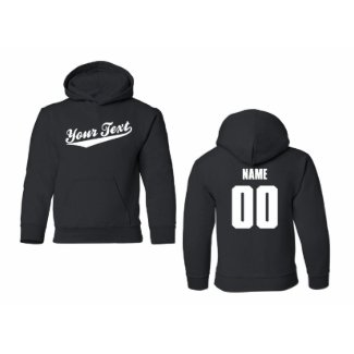 Custom Youth Hooded Sweatshirt, Baseball Script