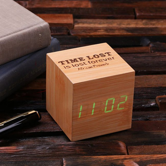 Engraved Green LED Display Wooden Digitial Clock