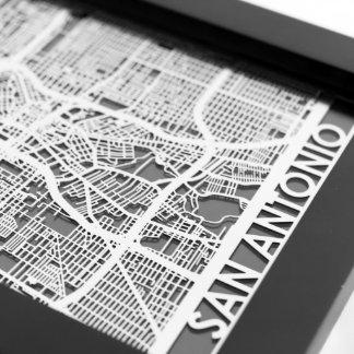 "5"" X 7"" Stainless Steel Cut San Antonio City Map"