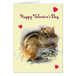 Feasting Chipmunk Valentine Card