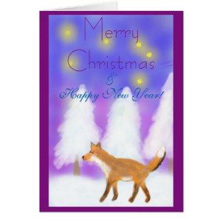 Christmas with a fox, stars & winter wonderland card