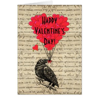 Romantic Raven Valentine's Day Card