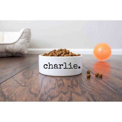 Distressed Script Food or Water Ceramic Pet Bowl