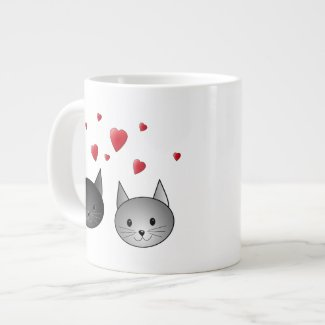 Cute Black and Gray Cats, with Hearts. Giant Coffee Mug