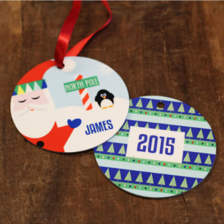Personalized Round Holiday Santa Claus Ornament