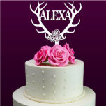 """Personalized Deer Antler Cake Topper<br><div class=""""desc"""">Each topper is laser cut from 1/8 inch thick acrylic,  Width: 5""""-6"""" Side to side (The exact height of this topper will depend on what width is chosen and what the last name is used.)Your cake topper will be ready in just one business day.</div>"""
