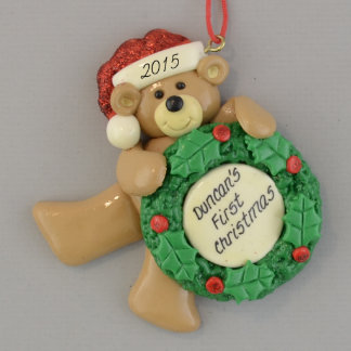 Personalized First Christmas Bear Ornament