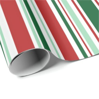 Modern Red, Green, White Christmas Stripes Wrapping Paper
