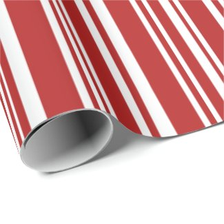 Modern Mixed Red and White Stripes Wrapping Paper