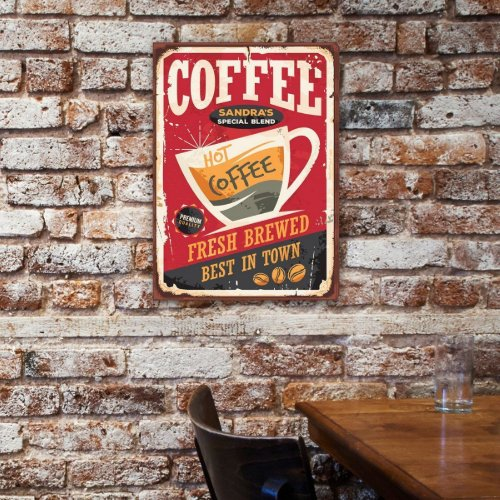 Personalized metal coffee wall art decor