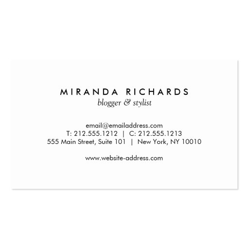 Luxe Bold Black and White Stripes with Gold Bar Double-Sided Standard Business Cards (Pack Of 100) (back side)