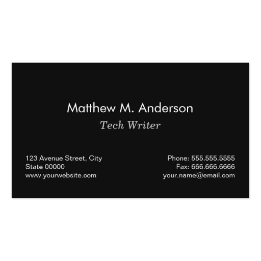 Tech Writer - Classic Black and White Pen Logo Business Card Template (back side)