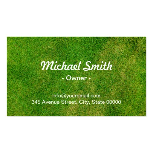 Mowing Lawn Care Green Field Grass Blue Sky Double-Sided Standard Business Cards (Pack Of 100) (back side)