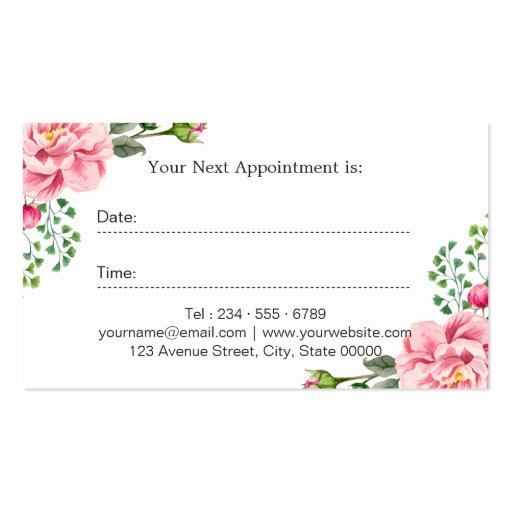 Floral Hair Stylist Logo Beauty Salon Appointment Double-Sided Standard Business Cards (Pack Of 100) (back side)