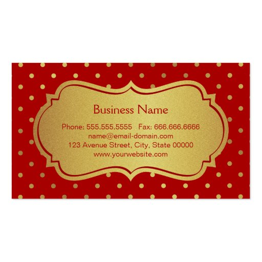 Hair Stylist - Eye Catching Hot Red Gold Dots Business Card (back side)