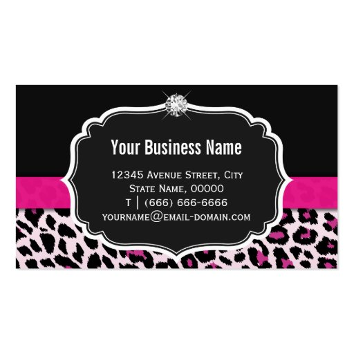 Stylish Pink Leopard Print Girly Ribbon Networking Business Card Template (back side)