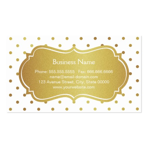 Hair Stylist - Chic White Gold Glitter Polka Dots Business Card Templates (back side)