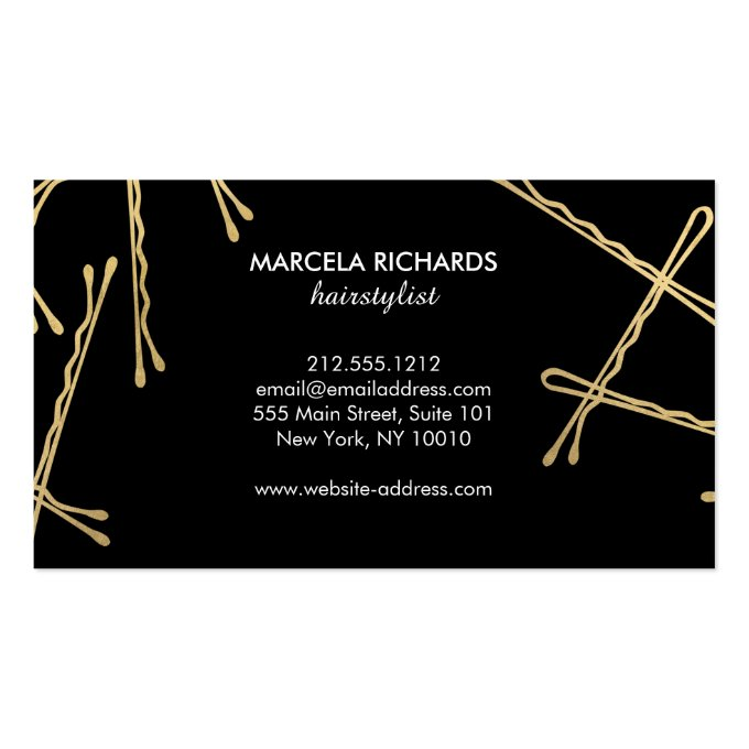 Chic Gold Bobby Pins Hairstylist, Hair Salon II Business Card (back side)