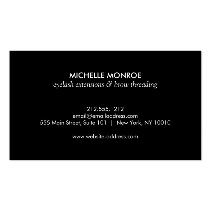 Eyelashes with Gold Glitter Business Card (back side)