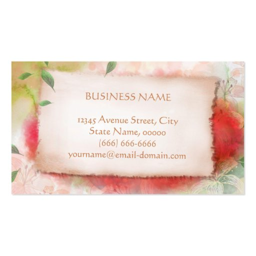 Makeup - Artistry Watercolor Floral Business Card Template (back side)