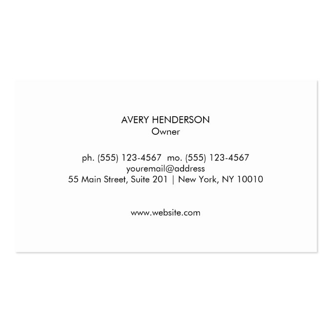 Modern Monogram, Black and White Marble Stone Business Card (back side)